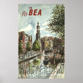 Voyage vintage d'Amsterdam Poster
