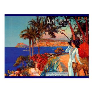 Voyage vintage d'Antibes Cote d'Azur Carte Postale