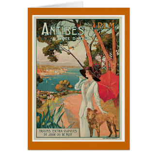 Voyage vintage d'Antibes, France Carte De Vœux