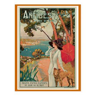 """Voyage vintage de """"Antibes, France"""" Carte Postale"""