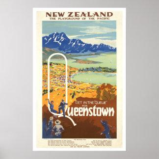 Voyage vintage de ~ de Queenstown, Nouvelle Posters