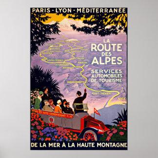 Voyage vintage de DES Alpes France d'itinéraire de Affiche