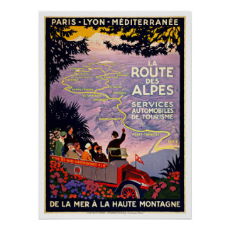 Voyage vintage de DES Alpes France d'itinéraire de Poster