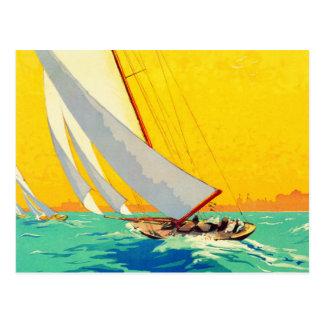 Voyage vintage de Français de bateaux à voile Carte Postale