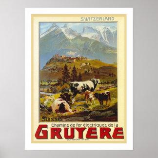 Voyage vintage de gruyère affiches