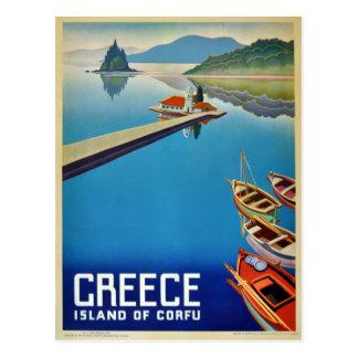 Voyage vintage de la Grèce - île de Corfou Carte Postale