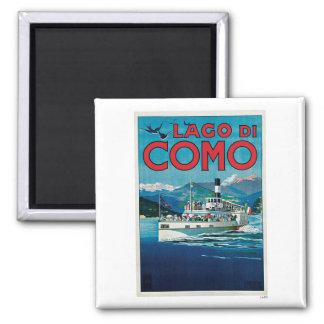 Voyage vintage de Lago Di Como Italie Magnet Carré