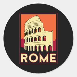 voyage vintage de l'Europe de Colisé de Rome Adhésif Rond