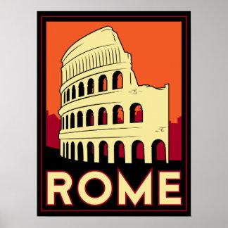 voyage vintage de l'Europe de Colisé de Rome Itali Poster