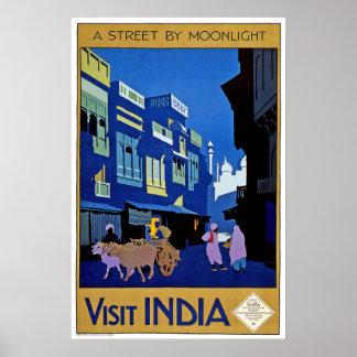 Voyage vintage de l'Inde de visite Affiches