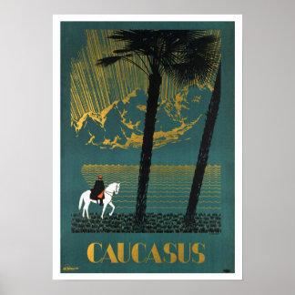 Voyage vintage de montagnes de Caucase Posters