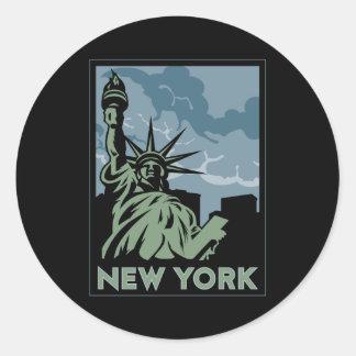 voyage vintage de New York Etats-Unis Etats-Unis Sticker Rond
