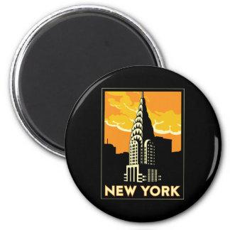 voyage vintage de New York Etats-Unis Etats-Unis r Magnet Rond 8 Cm