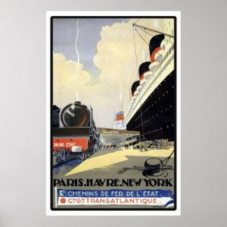 Voyage vintage de Paris, le Havre, New York Affiches