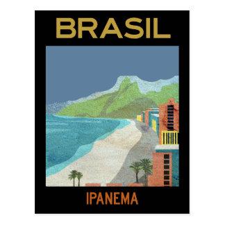 Voyage vintage de plage d'Ipanema Brésil Carte Postale