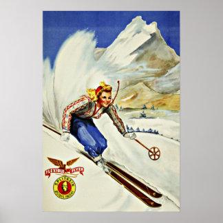 Voyage vintage de ski unique de stations de poster
