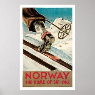 Voyage vintage de sports de ski de la Norvège Posters