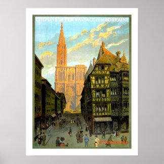 Voyage vintage de Strasbourg Affiche