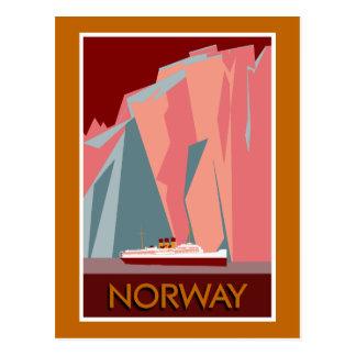 Voyage vintage de style de fjords de la Norvège Carte Postale