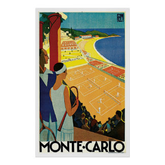 Voyage vintage de tennis de Monte Carlo Monaco Affiche