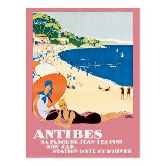 Voyage vintage de vacances de plage d'Antibes Carte Postale