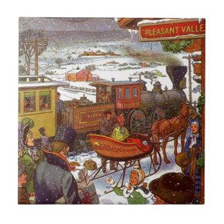 Voyage vintage de vacances de train de vallée de carreaux
