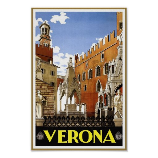 Voyage vintage de Vérone Italie Affiche