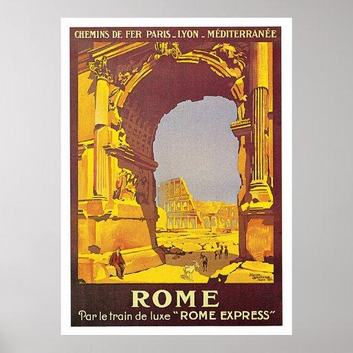 """Voyage vintage d'express de Rome, Italie """"Rome"""" Posters"""