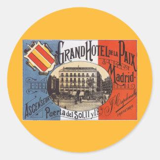 Voyage vintage, hôtel grand Paix, Madrid, Espagne Sticker Rond
