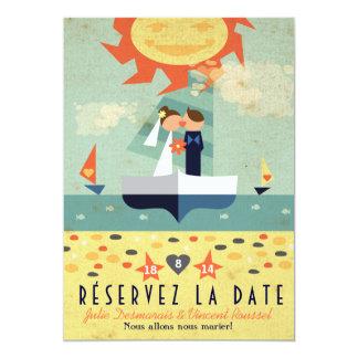 Voyage Vintage Illustration Voilier Réservez Date Carton D'invitation 12,7 Cm X 17,78 Cm