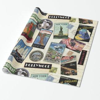 Voyage vintage moderne Etats-Unis Papier Cadeau