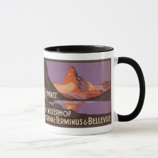 Voyage vintage, montagne de Matterhorn en Suisse Mug