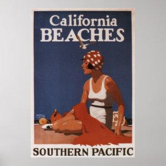 Voyage vintage Pacifique du sud de plages de la Poster