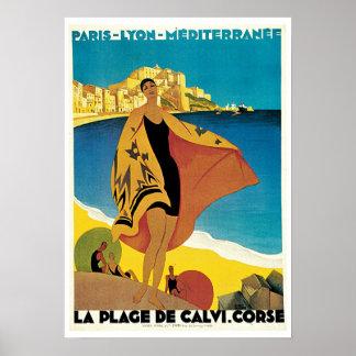 Voyage vintage, plage De Calvi France de La Affiche