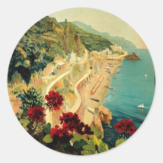Voyage vintage, plage italienne de côte d'Amalfi Sticker Rond