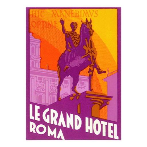 Voyage vintage, Statue Le Grand Hotel Roma Italie Invitation