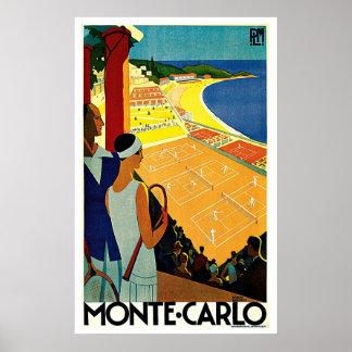 Voyage vintage, tennis, sports, Monte Carlo Monaco Affiche