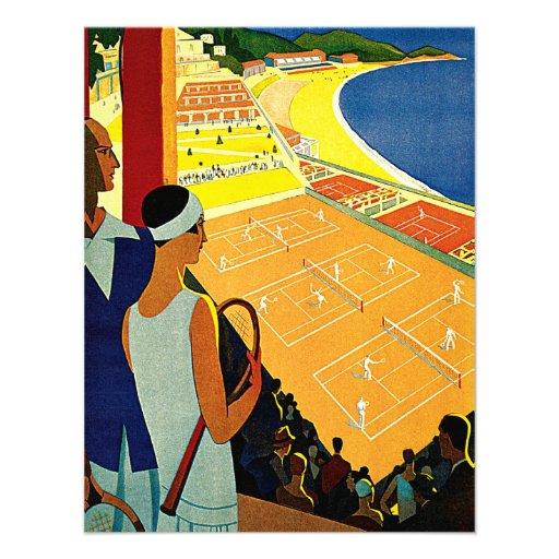 Voyage vintage, tennis, sports, Monte Carlo Monaco Invitation Personnalisée