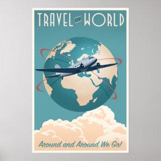 Voyagent le monde - dans le style vintage posters