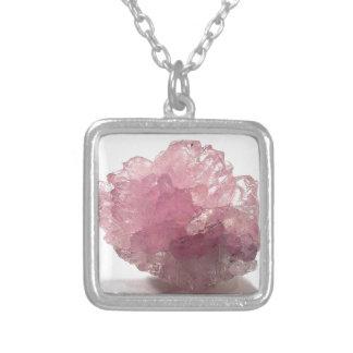 Voyageurs de bonheur de quartz rose pendentif carré