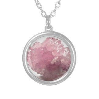 Voyageurs de bonheur de quartz rose pendentif rond