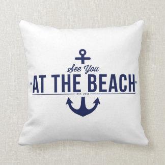 Voyez-vous à la plage, coussin élégant et vintage