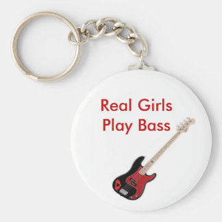 Vrai porte - clé de basse de jeu de filles porte-clé rond
