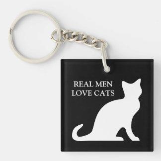 Vrai porte - clé de chats d'amour d'hommes porte-clé carré en acrylique une face