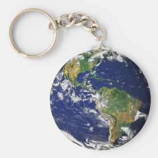 Vraie photographie de porte - clé du monde porte-clé rond