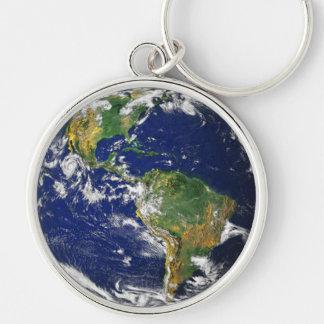 Vraie photographie de porte - clé du monde porte-clé rond argenté