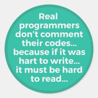Vrais programmeurs sticker rond