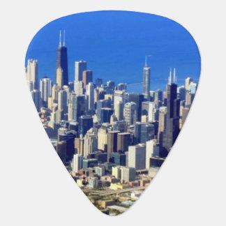 Vue aérienne de Chicago du centre avec le lac Onglet De Guitare