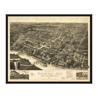 Vue aérienne de Gadsden, Alabama (1887) Toile