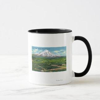 Vue aérienne de vallée et de montagne de la mug